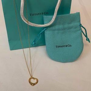 Tiffanys Elsa Peretti Open Heart Pendant authentic